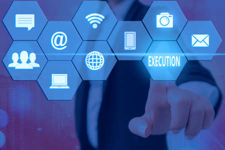 Text sign showing Execution. Business photo showcasing the carrying out or putting effect of plan, or course of action Grids and different set up of the icons latest digital technology concept Banque d'images