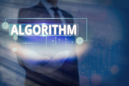 Text sign showing Algorithm. Business photo text procedure for solving a problem or accomplishing tasks etc. Information digital technology network connection infographic elements icon