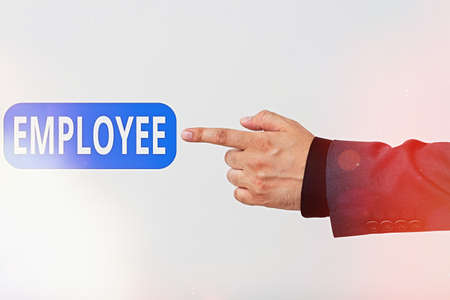 Text sign showing Employee. Business photo text one employed by another usually for wages or salary below the executive Model with pointing hand finger symbolizing navigation progress growth