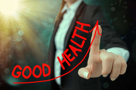Handwriting text writing Good Health. Conceptual photo state of being vigorous and free from a bodily or mental disease digital arrowhead curve rising upward denoting growth development concept