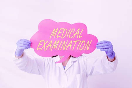 Conceptual hand writing showing Medical Examination. Concept meaning the examination carried out to determine physical fitness Laboratory technician featuring empty paper accessories smartphone