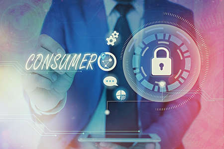 Word writing text Consumer. Business photo showcasing one that utilizes economic goods that are sold by manufacturers Graphics padlock for web data information security application system Foto de archivo