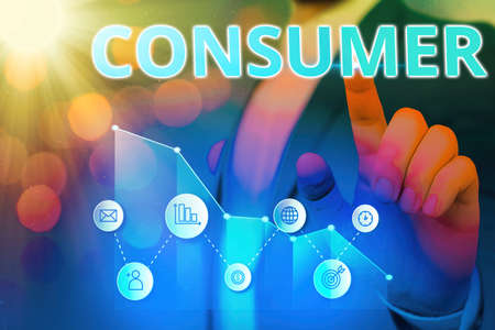Word writing text Consumer. Business photo showcasing one that utilizes economic goods that are sold by manufacturers Arrow symbol going upward denoting points showing significant achievement