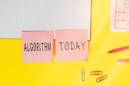 Word writing text Algorithm. Business photo showcasing procedure for solving a problem or accomplishing tasks etc. Flat lay above table with blank papers with copy space for text messages