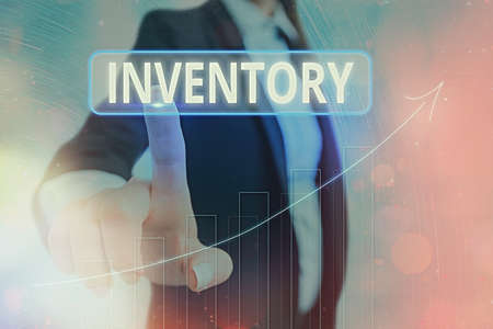 Text sign showing Inventory. Business photo showcasing list of traits, preferences, attitudes, interests, or abilities Arrow symbol going upward denoting points showing significant achievement Standard-Bild