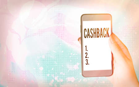 Word writing text Cashback. Business photo showcasing actual cash that can be applied to a credit card bill and received Modern gadgets with white display screen under colorful bokeh background Archivio Fotografico