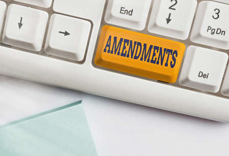 Text sign showing Amendments. Business photo text process of amending a law or document by parliamentary. Different colored keyboard key with accessories arranged on empty copy space