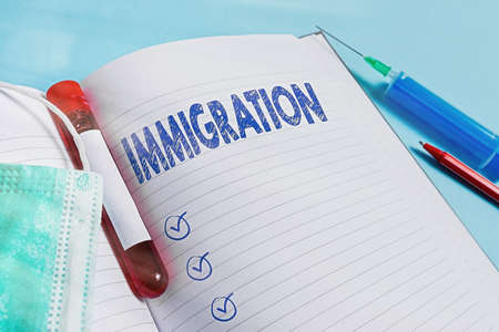 Text sign showing Immigration. Business photo text the action of coming to live permanently in a foreign country Extracted blood sample vial with medical accessories ready for examination