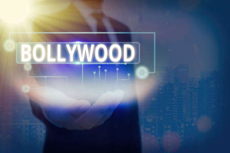 Text sign showing Bollywood. Business photo, refers to the Hindi language movie industry in India. Information digital technology network connection infographic elements icon 写真素材