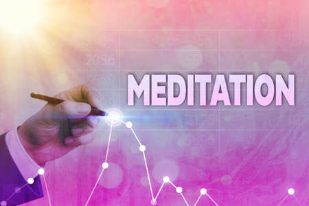 Writing note showing Meditation. Business concept for the discourse intended to express its author s is reflections Arrow symbol going upward showing significant achievement