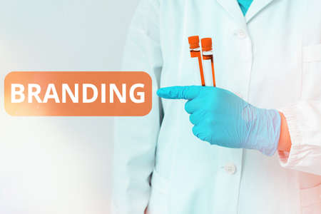 Handwriting text writing Branding. Conceptual photo the promoting of a product or service of a particular brand Laboratory blood test sample shown for medical diagnostic analysis result 写真素材