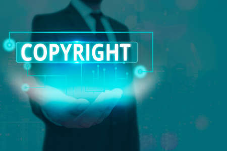 Text sign showing Copyright. Business photo text exclusive legal right to reproduce, publish, sell, or distribute Information digital technology network connection infographic elements icon