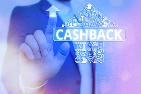 Handwriting text writing Cashback. Conceptual photo actual cash that can be applied to a credit card bill and received Information digital technology network connection infographic elements icon Archivio Fotografico