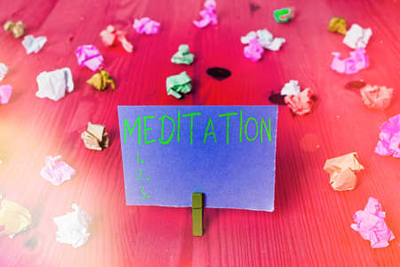 Writing note showing Meditation. Business concept for the discourse intended to express its author s is reflections Colored crumpled rectangle shaped reminder paper light blue background Reklamní fotografie