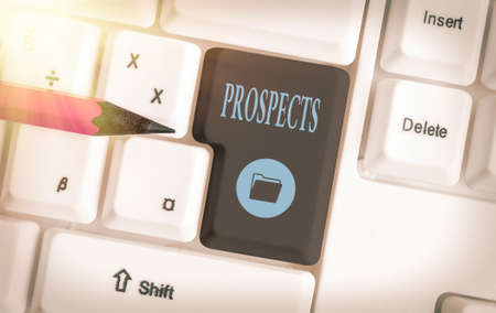 Text sign showing Prospects. Business photo showcasing potential buyer or customer, candidate for a job position Different colored keyboard key with accessories arranged on empty copy space