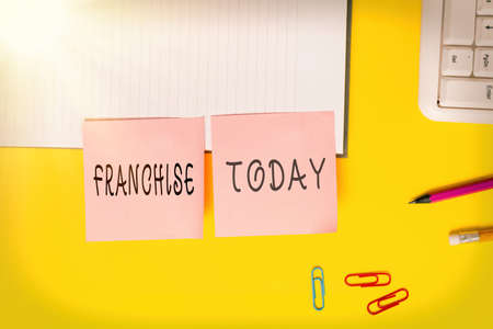 Word writing text Franchise. Business photo showcasing right or license granted to an individual or group to market Flat lay above table with blank papers with copy space for text messages