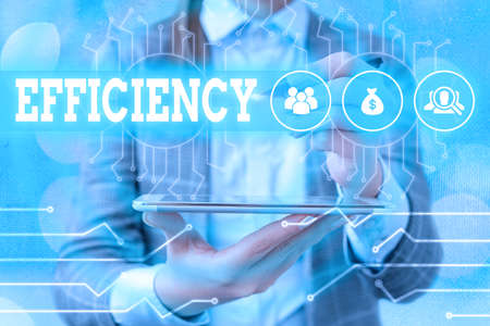 Text sign showing Efficiency. Business photo text ability to avoid wasting materials, efforts, in doing something System administrator control, gear configuration settings tools concept Banque d'images