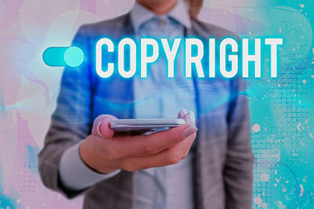 Text sign showing Copyright. Business photo showcasing exclusive legal right to reproduce, publish, sell, or distribute Graphics padlock for web data information security application system