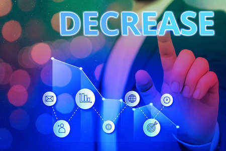 Word writing text Decrease. Business photo showcasing the process of growing progressively less in size, amount, etc. Arrow symbol going upward denoting points showing significant achievement