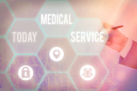 Handwriting text writing Medical Service. Conceptual photo care and treatment provided by a licensed medical provider Grids and different set up of the icons latest digital technology concept Stock Photo
