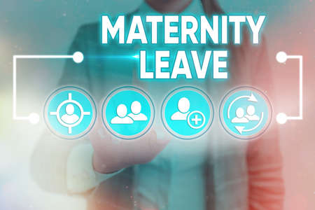 Word writing text Maternity Leave. Business photo showcasing a leave of absence for an expectant or a new mother Information digital technology network connection infographic elements icon