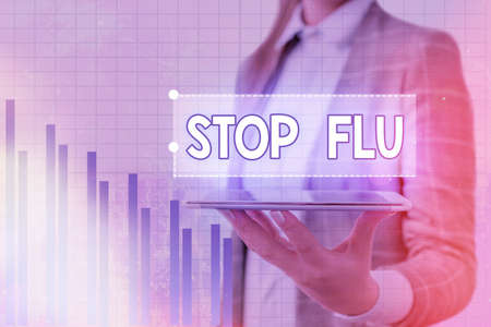 Handwriting text Stop Flu. Conceptual photo put an end of the viral infection of your lungs and airways Arrow symbol going upward denoting points showing significant achievement