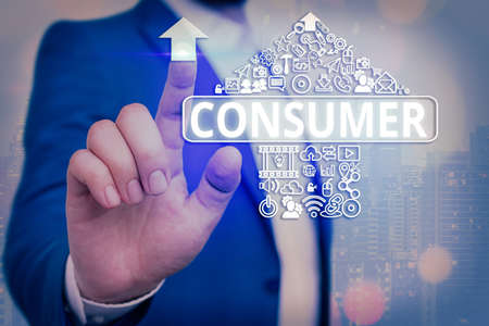 Handwriting text writing Consumer. Conceptual photo one that utilizes economic goods that are sold by manufacturers Information digital technology network connection infographic elements icon