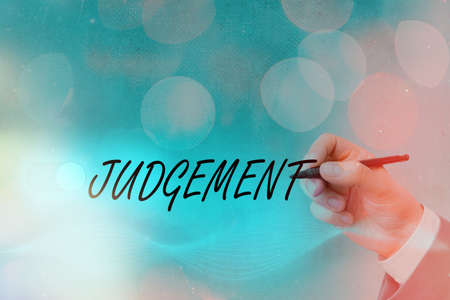 Text sign showing Judgement. Business photo text process of forming an evaluation by discerning and comparing Graphics padlock for web data information security application system Imagens