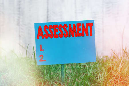 Handwriting text Assessment. Conceptual photo action or an instance of making a judgment about something Plain empty paper attached to a stick and placed in the green grassy land