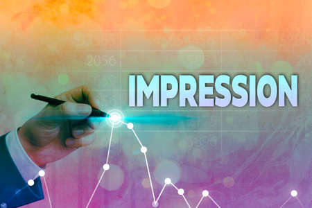 Writing note showing Impression. Business concept for opinion about something especially form without conscious thought Arrow symbol going upward showing significant achievement