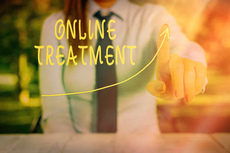 Conceptual hand writing showing Online Treatment. Concept meaning providing mental health services over the internet Digital arrowhead curve denoting growth development concept