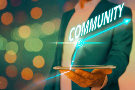 Word writing text Community. Business photo showcasing with a common characteristic or interest living together Arrow symbol going upward denoting points showing significant achievement Imagens