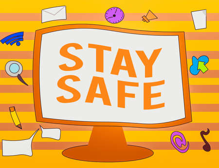 Text sign showing Stay Safe. Business photo text secure from threat of danger, harm or place to keep articles Web Application Software icons Surrounding Blank Mounted Computer Monitor