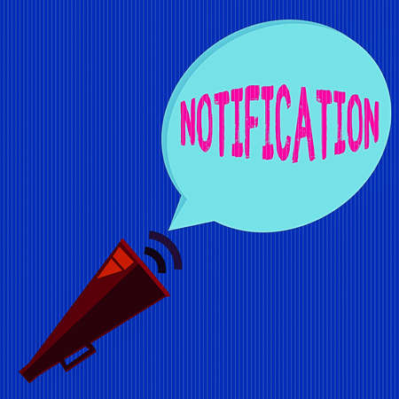 Word writing text Notification. Business photo showcasing act or instance of notifying, written matter that gives notice Piped Megaphone with Sound Effect icon and Blank Halftone Speech Bubble