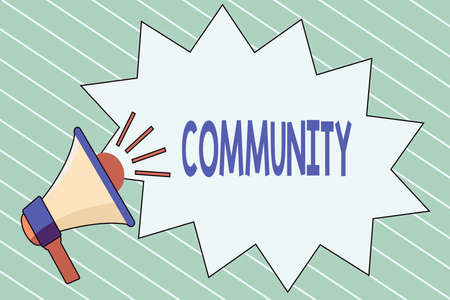 Writing note showing Community. Business concept for group of showing with a common characteristics living together Megaphone with Volume Sound Effect icon and Blank Jagged Scream Bubble Banco de Imagens