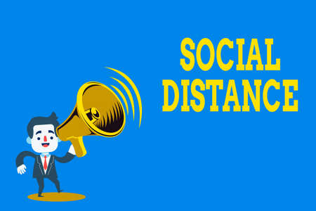 Word writing text Social Distance. Business photo showcasing maintaining a high interval physical distance for public health safety Man in Suit Earpad Standing Moving Holding a Megaphone with Sound icon