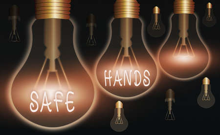 Word writing text Safe Hands. Business photo showcasing Ensuring the sterility and cleanliness of the hands for decontamination Realistic colored vintage light bulbs, idea sign solution thinking concept