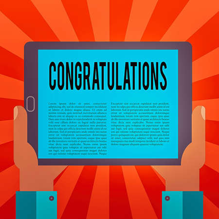 Conceptual hand writing showing Congratulations. Concept meaning a congratulatory expression usually used in plural form Hu analysis Hand Holding Tablet Smartphone Display Unit photo
