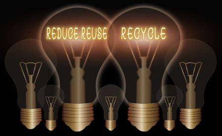 Word writing text Reduce Reuse Recycle. Business photo showcasing environmentallyresponsible consumer behavior Realistic colored vintage light bulbs, idea sign solution thinking concept