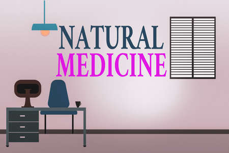 Word writing text Natural Medicine. Business photo showcasing any of various systems of healing or treating disease Work Space Minimalist Interior Computer and Study Area Inside a Room photo