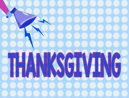 Word writing text Thanksgiving. Business photo showcasing public acknowledgment or celebration of divine goodness Hu analysis Hand Holding Megaphone Downward with Lightning Sound Effect Icon Banque d'images - 153294293