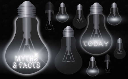 Handwriting text Myths And Facts. Conceptual photo usually traditional story of ostensibly historical events Realistic colored vintage light bulbs, idea sign solution thinking concept