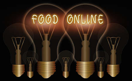 Word writing text Food Online. Business photo showcasing the practice of taking action to improve one s is own health Realistic colored vintage light bulbs, idea sign solution thinking concept