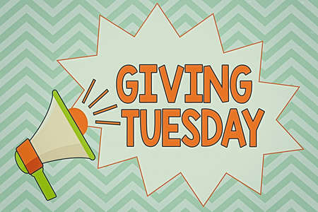 Writing note showing Giving Tuesday. Business concept for international day of charitable giving Hashtag activism Megaphone with Volume Sound Effect icon and Blank Jagged Scream Bubble