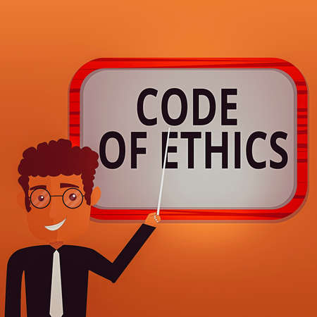 Handwriting text writing Code Of Ethics. Conceptual photo basic guide for professional conduct and imposes duties Man Standing Holding Stick Pointing to Wall Mounted Blank Color Board 스톡 콘텐츠
