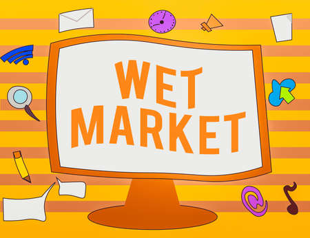 Text sign showing Wet Market. Business photo text market selling fresh meat fish produce and other perishable goods Web Application Software icons Surrounding Blank Mounted Computer Monitor