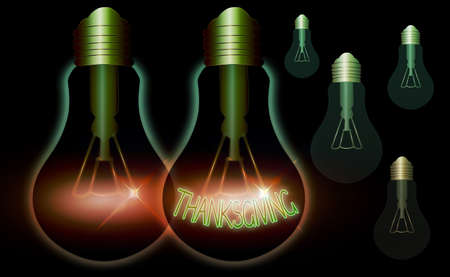 Writing note showing Thanksgiving. Business concept for public acknowledgment or celebration of divine goodness Realistic colored vintage light bulbs, idea sign solution