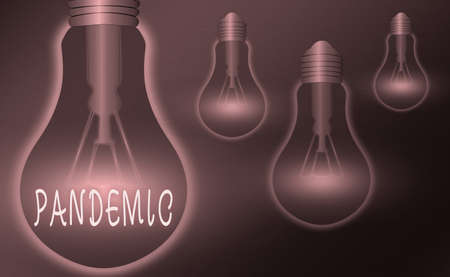 Writing note showing Pandemic. Business concept for occurring over a wide area affecting high proportion of population Realistic colored vintage light bulbs, idea sign solution