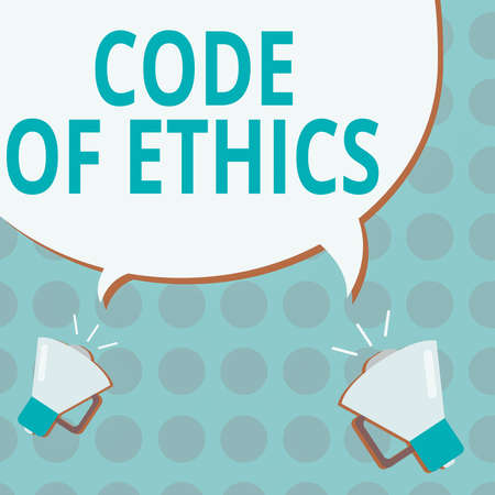 Conceptual hand writing showing Code Of Ethics. Concept meaning basic guide for professional conduct and imposes duties Blank Speech Bubble Tails pointing to Different Megaphone