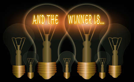 Word writing text And The Winner Is. Business photo showcasing announcing an individual or thing that wins something Realistic colored vintage light bulbs, idea sign solution thinking concept